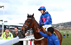 Cue Card and jockey Paddy Brennan after failing to finish the Ryanair Chase during St Patrick's Thursday of the 2018 Cheltenham Festival at Cheltenham Racecourse.