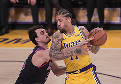 January 24, 2019 - Los Angeles, California, U.S - Dario Saric #36 of the Minneapolis Timberwolves defends against Michael Beasley #11 of the Los Angeles Lakers during their NBA game on Thursday January 24, 2019 at the Staples Center in Los Angeles, California. Lakers lose to Timberwolves, 105-120. (Credit Image: © Prensa Internacional via ZUMA Wire)