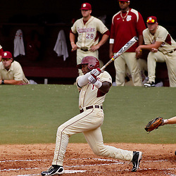 June 05, 2011; Tallahassee, FL, USA; Florida State Seminoles center fielder Taiwan Easterling connects on a one run single against the Alabama Crimson Tide during the second inning of the Tallahassee regional of the 2011 NCAA baseball tournament at Dick Howser Stadium. Mandatory Credit: Derick E. Hingle