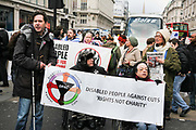 DPAC(Disabled People Against the Cuts) and UK Uncut staged a protest against Government cuts on disability benefits. A number of wheel chair bound activists locked themselves together and close traffic in Oxford Circus, Central London. The protest lasted 2 hours before the activists left voluntarily.