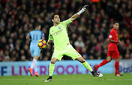 Claudio Bravo of Manchester City  during the English Premier League match at Anfield Stadium, Liverpool. Picture date: December 31st, 2016. Photo credit should read: Lynne Cameron/Sportimage