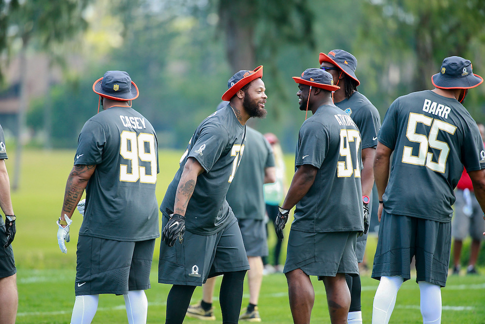 January 28 2016: Seattle Seahawks Michael Bennett jokes around during the Pro Bowl practice at Turtle Bay Resort on North Shore Oahu, HI. (Photo by Aric Becker/Icon Sportswire)