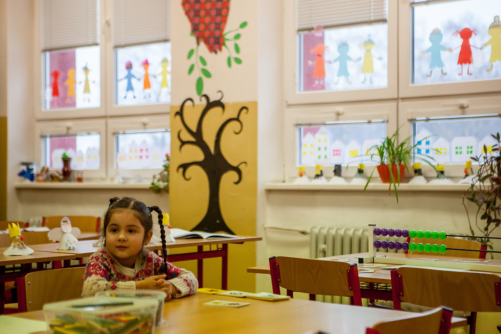Esther Kroscenova (6) during an enrollment examination (test) for becoming a first class pupil in the school year 2016/2017 at ZS Chrustova elementary school in the city of Ostrava, where Roma and non Roma children are educated together. The children are being ask about numbers, colors and letters beside other things to find out about their pre school education.