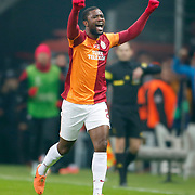 Galatasaray's Aurelien Bayard Chedjou Fongang celebrate his goal during their UEFA Champions League Round of 16 First leg soccer match Galatasaray between Chelsea at the AliSamiYen Spor Kompleksi in Istanbul, Turkey on Wednesday 26 February 2014. Photo by Aykut AKICI/TURKPIX