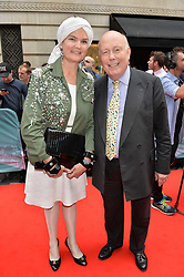Lord Julian Fellowes and Lady Emma Kitchener-Fellowes arriving at The opening night of Wind in The Willows at the London Palladium, Argyll Street, London England. 29 June 2017.<br /> Photo by Dominic O'Neill/SilverHub 0203 174 1069 sales@silverhubmedia.com