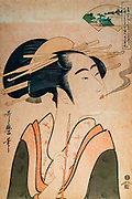 A courtesan of the Yoshiwara Pleasure Quarters in Edo (now Tokyo) is contrasted with an image of Mount Koya and an accompanying poem in the upper right. By Kitagaw Utamaro (1735?-1806). The Tokyo National Museum is the oldest and largest of Japan's top-level national museums. Located in Ueno Park, Tokyo, Japan.