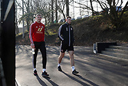 John Lundstram and Jack O'Connell of Sheffield Utd during the Press Conference & Training at the Steelphalt Academy, Sheffield. Picture date: 7th February 2020. Picture credit should read: Simon Bellis/Sportimage