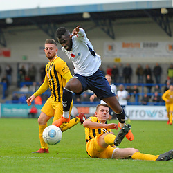 TELFORD COPYRIGHT MIKE SHERIDAN 10/11/2018 - Amari Morgan-Smith of AFC Telford hurdles a challenge  during the Vanarama Conference North fixture between AFC Telford United and Boston United.