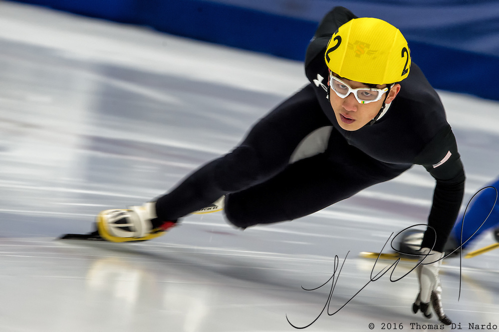 March 20, 2016 - Verona, WI - Jae Jae Yoo, skater number 252 competes in US Speedskating Short Track Age Group Nationals and AmCup Final held at the Verona Ice Arena.