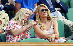 Tess Daly (right) and Joely Richardson in the royal box on centre court on day two of the Wimbledon Championships at the All England Lawn Tennis and Croquet Club, Wimbledon.