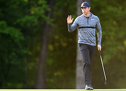 May 3, 2018 - Charlotte, NC, USA - Rory McIlroy acknowledges the fans' applause after sinking a putt on the 12th green during he first round of the Wells Fargo Championship at Quail Hollow Club in Charlotte, N.C., on Thursday, May 3, 2018. (Credit Image: © Jeff Siner/TNS via ZUMA Wire)