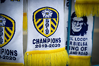 Traders sell celebratory scarves, flags and other merchandise outside Elland Road<br /> <br /> Photographer Alex Dodd/CameraSport<br /> <br /> The EFL Sky Bet Championship - Leeds United v Charlton Athletic - Wednesday July 22nd 2020 - Elland Road - Leeds <br /> <br /> World Copyright © 2020 CameraSport. All rights reserved. 43 Linden Ave. Countesthorpe. Leicester. England. LE8 5PG - Tel: +44 (0) 116 277 4147 - admin@camerasport.com - www.camerasport.com