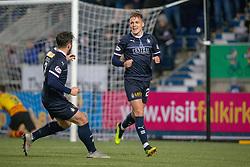 Falkirk's Joe McKee cele scoring their goal. Falkirk 1 v 1 Partick Thistle, Scottish Championship game played 17/11/2018 at The Falkirk Stadium.
