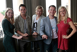 """© Licensed to London News Pictures. 16/07/2012. L-R: Emma Williams, Gareth Gates, Jonathan Ansell, Daniel Boys and Rachael Wooding. London, England. On Thursday, 19th July, Gareth Gates, Jonathan Ansell, Daniel Boys, Emma Williams and Rachael Wooding perform in """"Momentous Musicals"""", a brand new concert celebration showcasing ballads and songs from musicals for one night only at the New Wimbledon Theatre, London. The show is directed by John Garfield-Roberts with musical direction by John Dyer. Photo credit: Bettina Strenske/LNP"""