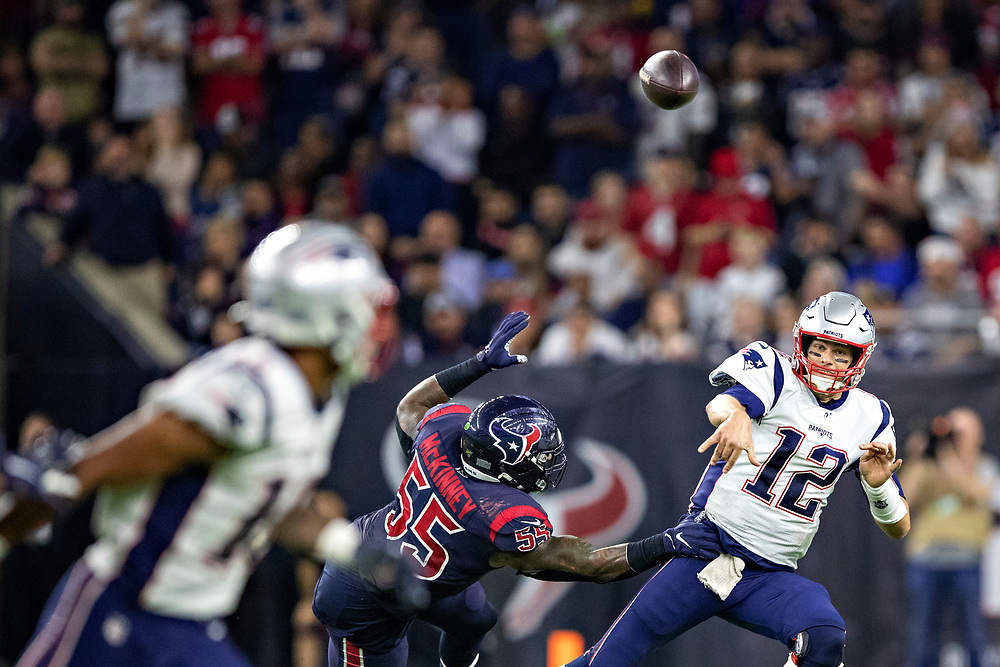 HOUSTON, TX - DECEMBER 1:  Tom Brady #12 of the New England Patriots throws a pass during the second half of a game against the Houston Texans at NRG Stadium on December 1, 2019 in Houston, Texas.  The Texans defeated the Patriots 28-22.  (Photo by Wesley Hitt/Getty Images) *** Local Caption *** Tom Brady
