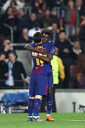 March 14, 2018 - Barcelona, Spain - OUSMANE DEMBELE of FC Barcelona celebrates with LIONEL MESSI after scoring his side's second goal during the UEFA Champions League, round of 16, 2nd leg football match between FC Barcelona and Chelsea FC on March 14, 2018 at Camp Nou stadium in Barcelona, Spain (Credit Image: © Manuel Blondeau via ZUMA Wire)