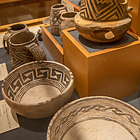 Ancient Anasazi pottery on display at the visitor center for Canyon of the Ancients Natonal Monument near Cortez, Colorado.