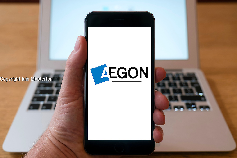 Aegon fund management company on smart phone screen.