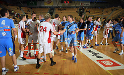 Players after  handball game between men national teams of Slovenia and Slovakia, first qualification game for the World Chamionship 2009, on June 7, 2008, in Arena Zlatorog, Celje, Slovenija. Result: 33 : 33. (Photo by Vid Ponikvar / Sportal Images)