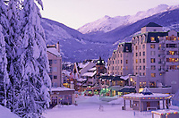 Whistler village in the winter in 1990.