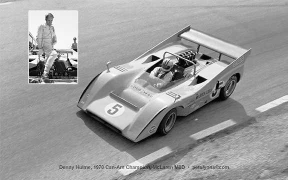 """This is a complete set of the same images as in my unique """"Can-Am Collage,"""" all 9 yearly driver champions-plus-cars, but as separate 5x8 prints, suitable for matting and framing as 5x7s. Sold only as a set of 9 (18 images in all) for $99 including FREE POSTAGE WORLDWIDE. Email me at pete@petelyons.com or phone USA-909-585-6894 (west coast timezone)."""