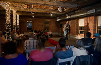 Steve Scarfo takes the stage during the Belknap Mill's Evening of Comedy event hosted by Fusion on Saturday evening.  (Karen Bobotas/for the Laconia Daily Sun)