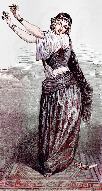 Machine colorized with Artificial Intelligence (AI) Alma or Belly dancing lady of Cairo, Egypt engraving on wood From The human race by Figuier, Louis, (1819-1894) Publication in 1872 Publisher: New York, Appleton