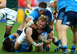 November 19, 2016 - Rome, Italy - Adriaan Strauss (S) tackled by Andries Van Schalkwyk (I)   during the international match between Italy v South Africa at Stadio Olimpico on November 19, 2016 in Rome, Italy. (Credit Image: © Matteo Ciambelli/NurPhoto via ZUMA Press)
