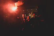 People celebrate in downtown Sarajevo after Bosnia's victory in a football match against Lithuania. The win qualified Bosnia for the 2014 FIFA World Cup, the first time the nation will go to the World Cup.<br /><br />(October 15, 2013)