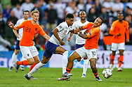 England forward Marcus Rashford (Manchester United) tussles with Netherlands forward Memphis Depay (Lyon) during the UEFA Nations League semi-final match between Netherlands and England at Estadio D. Afonso Henriques, Guimaraes, Portugal on 6 June 2019.