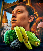 Avacado, banana, papaya, and watermelon still life with Chloé at the Shwedagon Pagoda. Composite of 18 focused stacked images taken with a Nikon D810a camera and 60 mm f/2.8 macro lens + Lightbox and ring LED (ISO 200, 60 mm, f/4, 1/125 sec). Manual camera adjustment of 9 cm in 0.5 cm intervals. LED +3EV (new battery, lightbox 100%). Raw images processed with Capture One Pro and Helicon Focus.