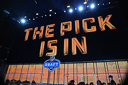 April 26, 2018 - Arlington, TX, U.S. - ARLINGTON, TX - APRIL 26:   Pittsburgh Steelers the pick is in logo on the video board during the first round at the 2018 NFL Draft at AT&T Statium on April 26, 2018 at AT&T Stadium in Arlington Texas.  (Photo by Rich Graessle/Icon Sportswire) (Credit Image: © Rich Graessle/Icon SMI via ZUMA Press)