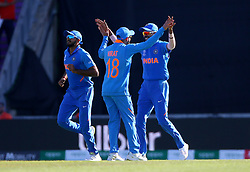 India's Mohammed Shami celebrates taking the wicket of Afghanistan's Aftab Alam during the ICC Cricket World Cup group stage match at the Hampshire Bowl, Southampton.