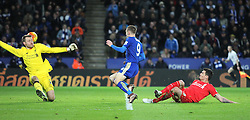 Jamie Vardy (C) of Leicester City scores his sides second goal - Mandatory byline: Jack Phillips/JMP - 02/02/2016 - FOOTBALL - King Power Stadium - Leicester, England - Leicester City v Liverpool - Barclays Premier League