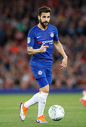 """Chelsea's Cesc Fabregas during the Carabao Cup, Third Round match at Anfield, Liverpool. PRESS ASSOCIATION Photo. Picture date: Wednesday September 26, 2018. See PA story SOCCER Liverpool. Photo credit should read: Martin Rickett/PA Wire. RESTRICTIONS: EDITORIAL USE ONLY No use with unauthorised audio, video, data, fixture lists, club/league logos or """"live"""" services. Online in-match use limited to 120 images, no video emulation. No use in betting, games or single club/league/player publications."""