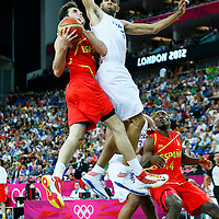 08 August 2012: Spain Rudy Fernandez goes for the layup against France Nicolas Batum during 66-59 Team Spain victory over Team France, during the men's basketball quarter-finals, at the 02 Arena, in London, Great Britain.
