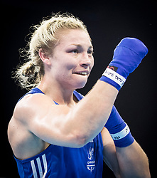 Wales' Lauren Price after winning the Women's Middle (69-75kg) final at Oxenford Studios during day ten of the 2018 Commonwealth Games in the Gold Coast, Australia.