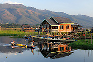 Burma/Myanmar, Inle Lake. Stilt houses in one of the Intha villages.