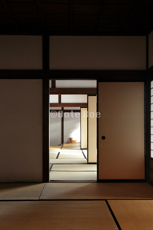 consecutive rooms with tatami flooring in old Japanese building