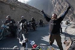 Bear Haughton feeling good as we headed up to 12,000' at the end of day-5  of our Himalayan Heroes adventure riding from Kalopani through the Mustang District to Muktinath, Nepal. Saturday, November 10, 2018. Photography ©2018 Michael Lichter.