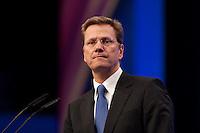 17 JAN 2009, BERLIN/GERMANY:<br /> Guido Westerwelle, FDP Bundesvorsitzender, haelt eine Rede, Europaparteitag der FDP, Estrel Convention Center<br /> IMAGE: 20090117-01-049<br /> KEYWORDS: party congress, speech