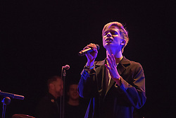 Old Town Hall, Stratford, London - 28 November 2015. Singers Marc Almond, Ronan Parke, Heather Peace and Asifa Lahore headline the Peter Tatchell Foundation's inaugural Equality Ball, a fundraiser for the foundation's LGBTI and human rights work, with guest of honour Sir Ian McKellen  joined by Paul O'Grady, Rupert Everett and Michael Cashman. PICTURED:  Ronan Parke at soundcheck. //// FOR LICENCING CONTACT: paul@pauldaveycreative.co.uk TEL:+44 (0) 7966 016 296 or +44 (0) 20 8969 6875. ©2015 Paul R Davey. All rights reserved.