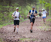 Brett Maune, left, and Jared Campbell finish a loop during the Barkley Marathons.