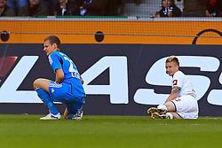 15.10.2011,  BorussiaPark, Mönchengladbach, GER, 1.FBL, Borussia Mönchengladbach vs Bayer 04 Leverkusen, im Bild.Bernd Leno (Torwart Leverkusen/Leihe aus Stuttgart) und Marco Reuss (Mönchengladbach #11) sind zusammengeprallt..// during the 1.FBL, Borussia Mönchengladbach vs Bayer 04 Leverkusen on 2011/10/13, BorussiaPark, Mönchengladbach, Germany. EXPA Pictures © 2011, PhotoCredit: EXPA/ nph/  Mueller *** Local Caption ***       ****** out of GER / CRO  / BEL ******