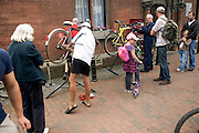 Street bicycle repair service Lewes, East Sussex, England