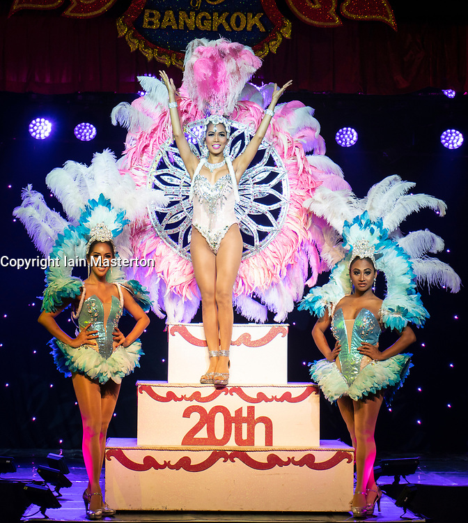 Edinburgh, Scotland, UK; 5 August, 2018. The Lady Boys of Bangkok - whose dazzling new 2018 production, Wonder Women runs from 3 - 27 Aug - celebrate their record breaking 20th anniversary on the Fringe with a giant 4ft tall birthday cake