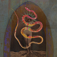 Photo illustration of Lilith or Eve, utilizing archival images of Nadar nude and Josef Maria Eder snake x-ray.