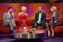 (left to right) Bradley Cooper, Lady Gaga, Ryan Gosling and Jodie Whittaker during the filming of the Graham Norton Show at BBC Studioworks 6 Television Centre, Wood Lane, London, to be aired on BBC One on Friday evening.