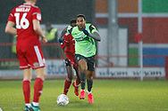 Terell Thomas of Wimbledon  during the EFL Sky Bet League 1 match between Accrington Stanley and AFC Wimbledon at the Fraser Eagle Stadium, Accrington, England on 1 February 2020.