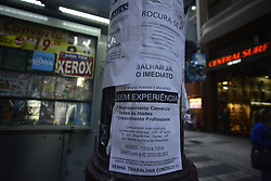 April 4, 2017 - Sao Paulo, Brazil - Unemployment reaches 13.5 million people and has the highest rate since 2012. The unemployment rate of the country closed the mobile quarter from December last year to February this year on 13, 2%, up 1.3 percentage points from the previous quarter. With the result, the country's unoccupied population reached 13.5 million workers, a new record of both the rate and unoccupied population of the entire historical series started in 2012. The data are part of the National Survey of Household Sample Continuous), released today by the Brazilian Institute of Geography and Statistics (IBGE). In relation to the same mobile quarter of the previous year, the unemployment rate rose by 2.9 percentage points. (Credit Image: © Cris Faga/NurPhoto via ZUMA Press)